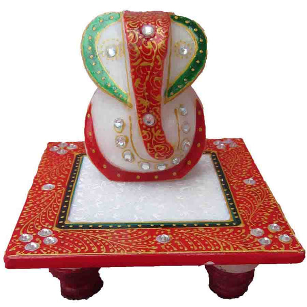 Marble Handicraft In Ganesha With Chowki-EC-HJRME9