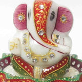 Marble Stand With Lord Ganesha-EC-HJRME8M17