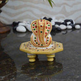 Marble Lord Ganesha On Golden Chowki-EC-HJRME5MY1