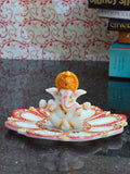 Chaturbhuj Lord Ganesha Sitting On Marble Lotus Plate-EC-HJRWME1SP60