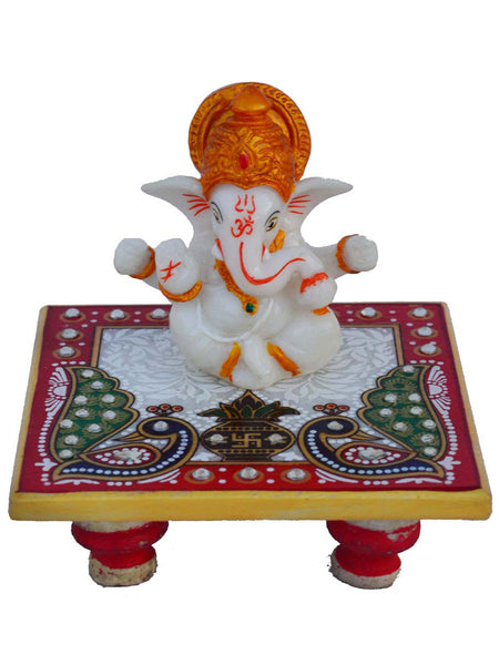 Lord Ganesha With  Crown  On Marble Chowki-EC-HJRWME1SP44