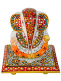 Marble Lord Ganesha On Floral Designed Chowki -EC-HJRME23FB14