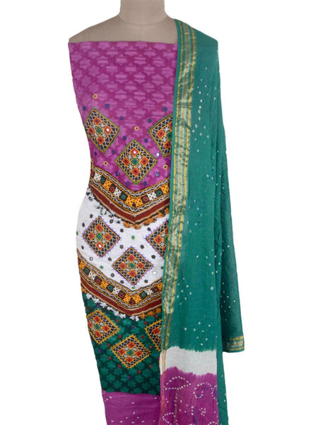 Bandhej Suit With Embroidery From Gujarat In Multicolour - MKPKGS15JN21