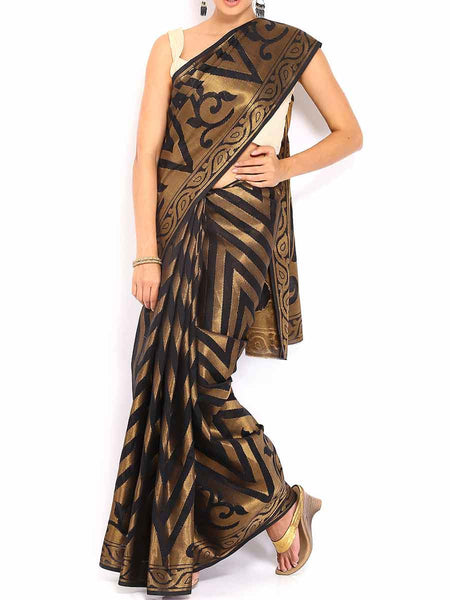 Banarasi Saree In Faux Black - RB-BPBUSA11JL206