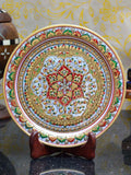Golden Floral Decorative Marble Plate With Wooden Stand-EC-HJRWME1SP70