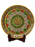 Green & Red Floral Decorative Marble Plate With Wooden Stand-EC-HJRWME1SP71
