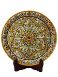Marble Decorative Plate With Flower Petal Desihn On Wooden Stand-EC-HJRWME1SP72