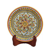 Bold Floral Marble Decorative Plate With Wooden Stand-EC-HJRWME1SP73