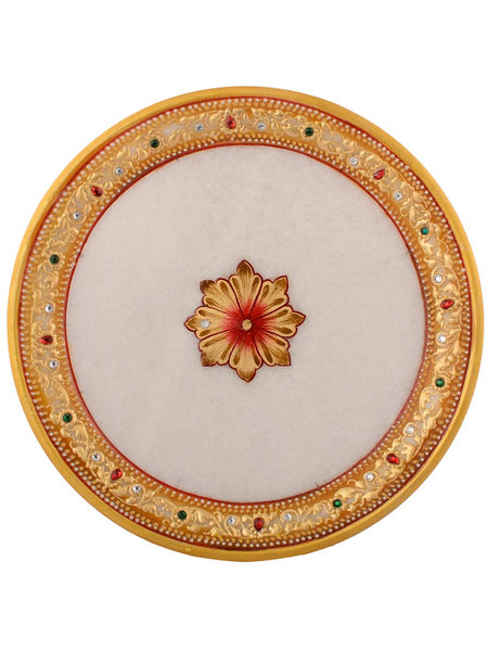 Golden Antique work Round Marble Pooja Thali - EC-HJRME24MA148