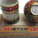 Marble Meenakari Pen Stand With Watch -EC-HJRME34