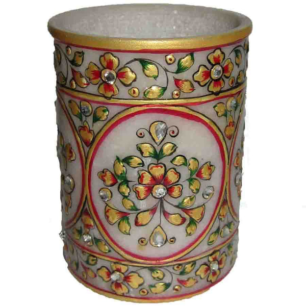 Marble Pen Stand With Floral Printed-EC-HJRME38