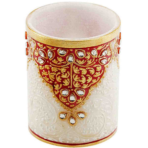 Marble Pen Stand With Meenakari Work-EC-HJRME39