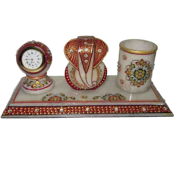 Marble Ganesha With Pen Stand And Watch-EC-HJRME40
