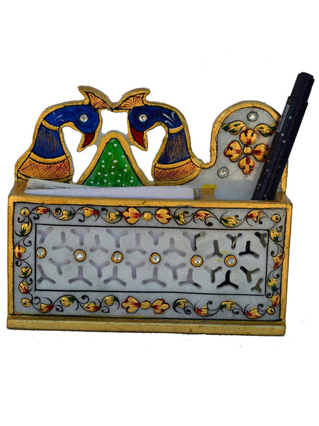 Marble Peacock Design Pen Stand In Grill Design-EC-HJRME23FB19
