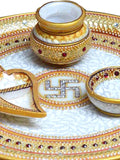 Golden Marble Pooja Thali With Swastic-EC-HJRWME1SP74
