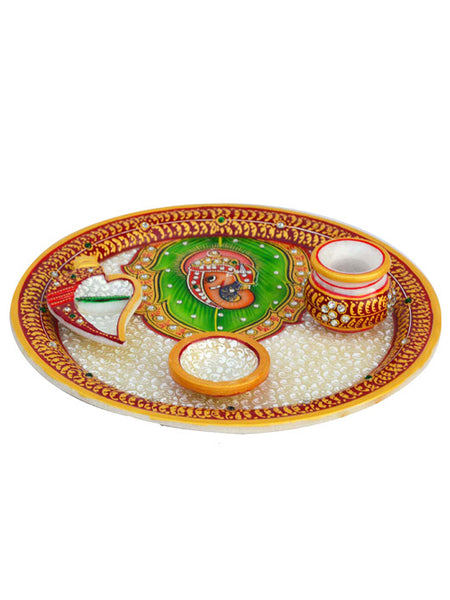 Marble Pooja Thali With Lord Ganesha-EC-HJRWME1SP75