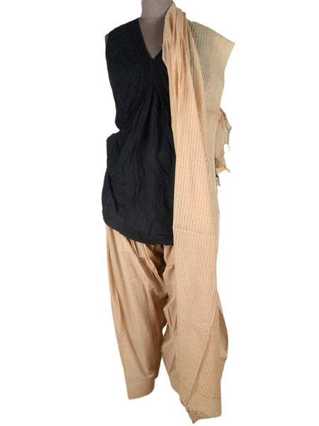 Beige Salwar Dupatta Set In Mangalgiri Cotton From Andhra Pradesh - MPBS10MH11