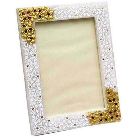 Marble Photo Frame With Kundan Work-EC-HJRME8M8