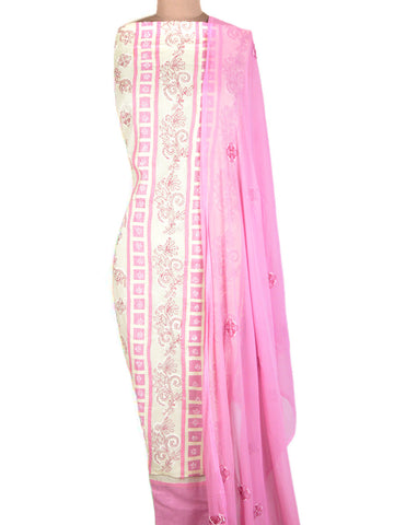 Cotton Chikankari Suit From Lucknow In Pink & White - MPLSU3SP2