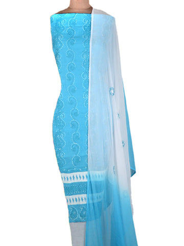 Cotton Chikankari Suit From Lucknow In True Blue - MPLSU3SP4