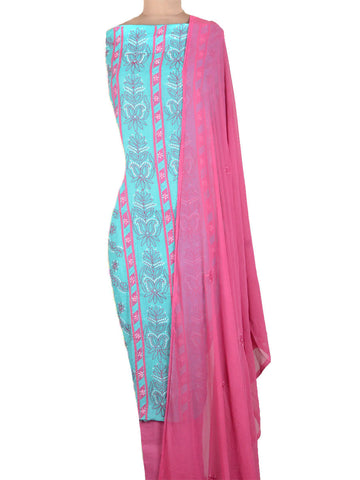 Cotton Chikankari Suit From Lucknow In True Blue & Pink - MPLSU3SP5