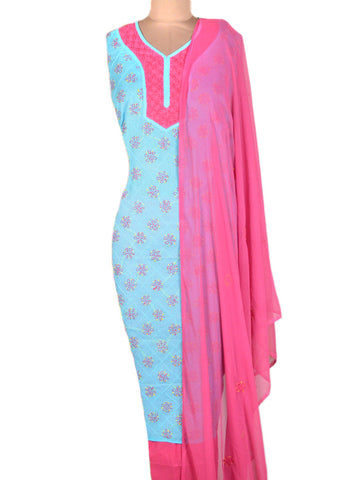 Cotton Chikankari Suit From Lucknow In Sky Blue & Pink - MPLSU3SP6