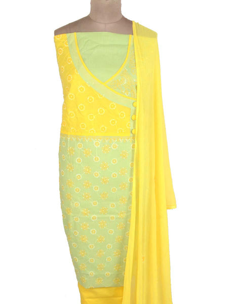 Cotton Chikankari Suit From Lucknow In Yellow -  M1-PLSU6JN3