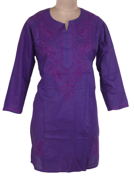 Chikankari Cotton Kurti From Lucknow In Purple - M1-PLUK6JN7