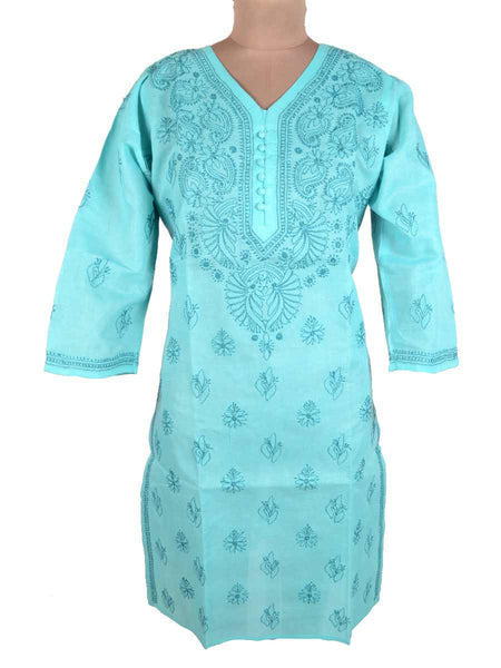 Chikankari Cotton Kurti From Lucknow In Black - M1-PLUK7JN12