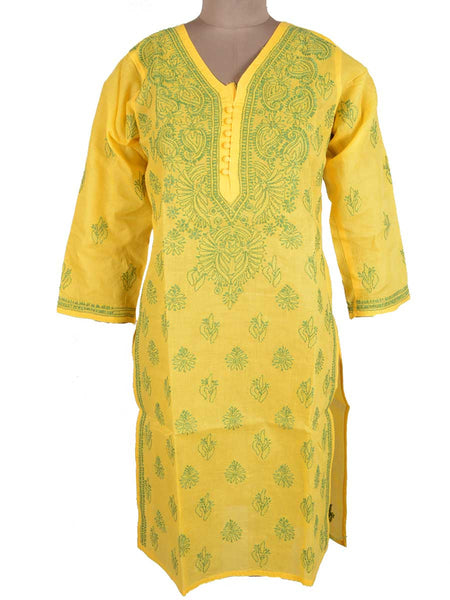 Chikankari Cotton Kurti From Lucknow In Yellow - M1-PLUK7JN7