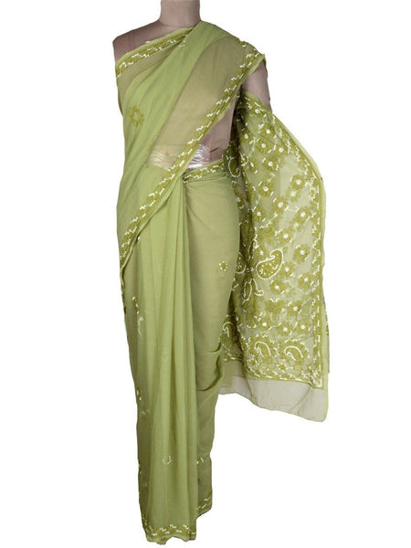 Chikankari Saree From Lucknow In Pistachio Green-MPLUSA1MY18