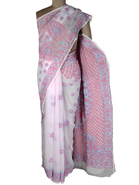 Chikankari Saree From Lucknow In White & Pink-MPLUSA1MY29
