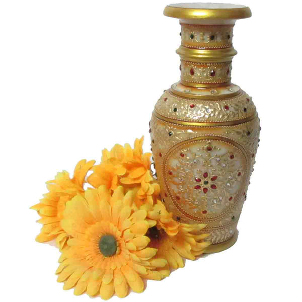 Marble Vase In Golden-EC-HJRME8M6