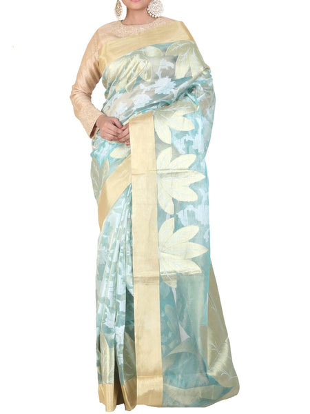 Banarasi Saree In Tissue Aqua Blue - S1-PBUSA4AG13