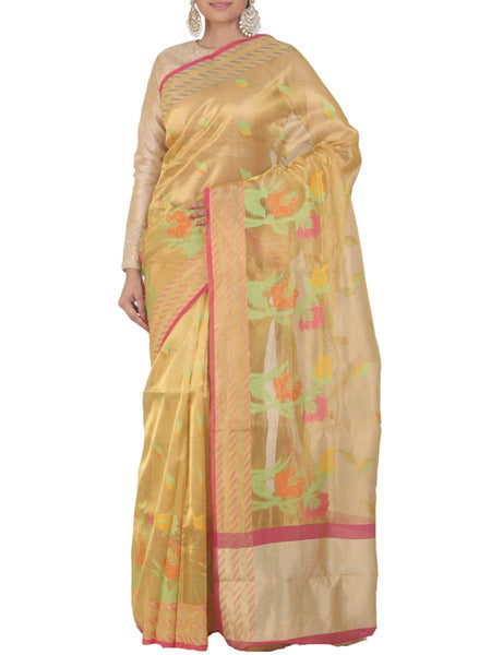 Banarasi Saree In Tissue Golden - S1-PBUSA4AG31