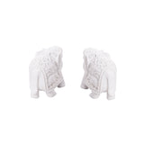 Set of 2 Pure White Polyresin Elephants In White - EC-HJRME24MA22