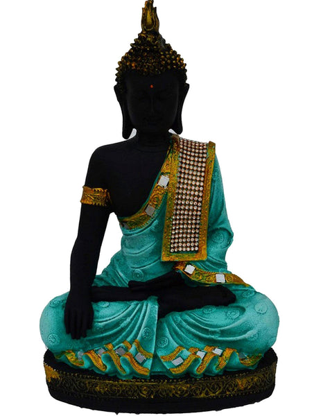 Polyresin Meditating Lord Buddha In Green-EC-KKPMB23FB20