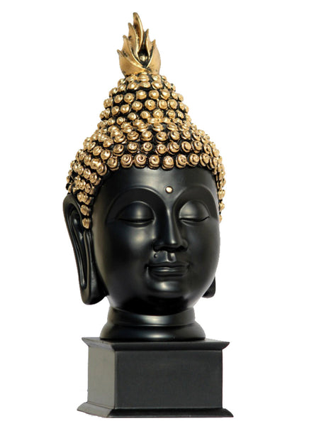 Black Golden Handcrafted Lord Buddha Head with Stand - EC-HJRME24MA392