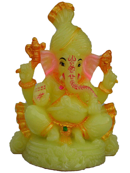 Polyresin Glowing Lord Ganesha With Pagadi-EC-KKPMB23FB22