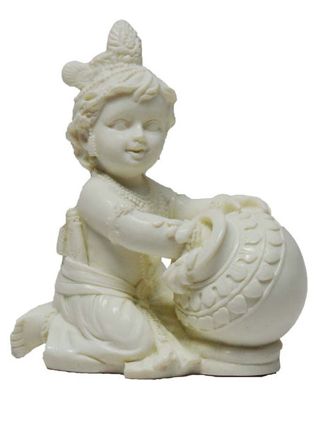 White Statue Of Laddu Gopal Having Makhan-KKPMB1SP89