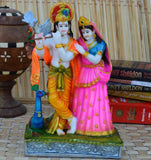 Colorful Statue of Radha-Krishna with Cow - EC-HJRPY3AG115