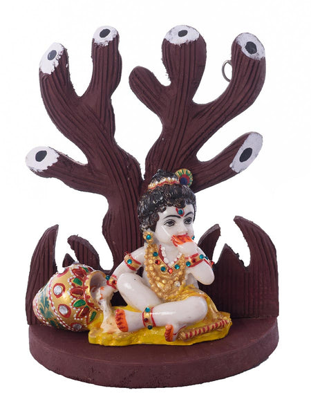 Polyresin Lord Krishna Under Wooden Tree Figurine - EC-HJRME24MA337