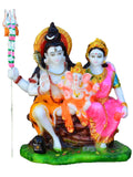 Polyresin Colorful Lord Shiva &Amp; Parvati With Ganesha Statue-EC-KKPMB23FB31