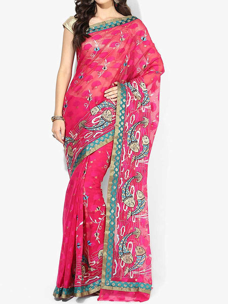 Banarasi Saree In Supernet Pink - RB-BPBUSA11JL228