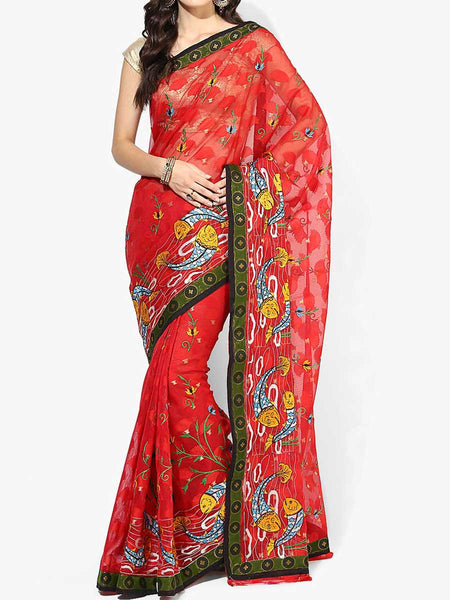 Banarasi Saree In Supernet Red - RB-BPBUSA11JL226