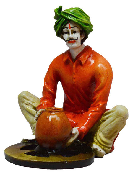 Rajasthani Craftmen Statue Making Pot-EC-KKPMB1SP93
