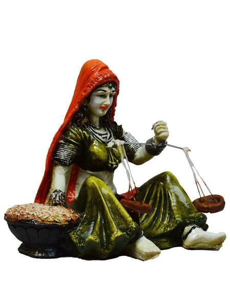 Rajasthani Lady Statue With Weighing Scale-EC-KKPMB1SP94
