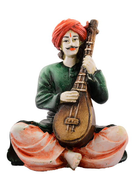 Polyresin Rajasthani playing Sitar musical instrument - EC-HJRME24MA68