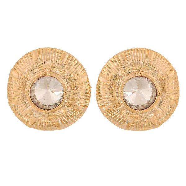 Sparkling Gold White Stone Crystals Party Drop Earrings - MCHUJE1OT164