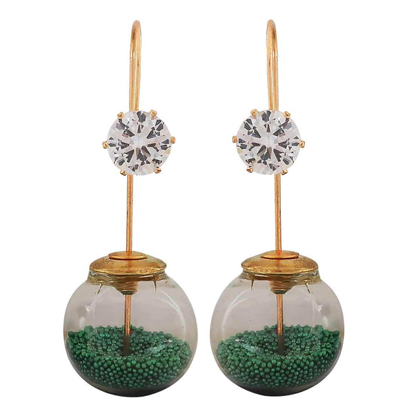 Sober Green White Designer Party Dangler Earrings - MCHUJE1OT194